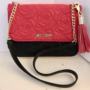 Betsey Johnson quilted roses crossbody purse